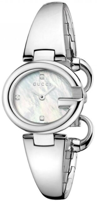 175024f2118 Gucci Guccissima Diamond Mother of Pearl Dial Stainless Steel Watch YA134504