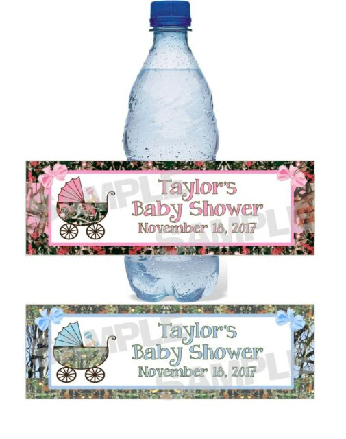 Personalized Camouflage Camo Baby Shower Water Bottle Label Wrappers