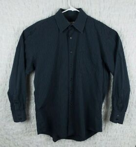 Men-039-s-Blue-Striped-Pronto-Uomo-Long-Sleeve-Shirt-Size-Large