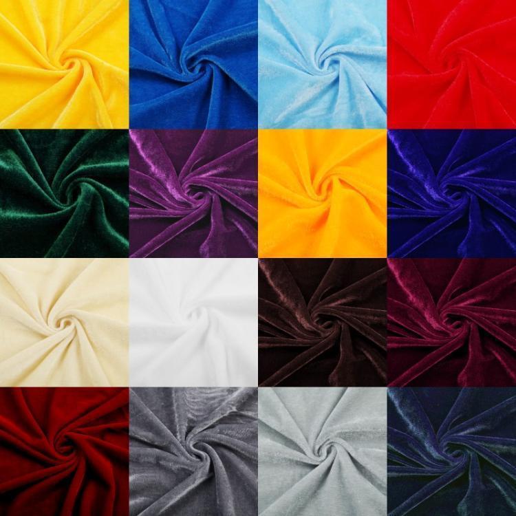 10 Yd (environ 9.14 m) floqué velours tissu extensible 60  Large robe artisanat rideau 10 couleurs
