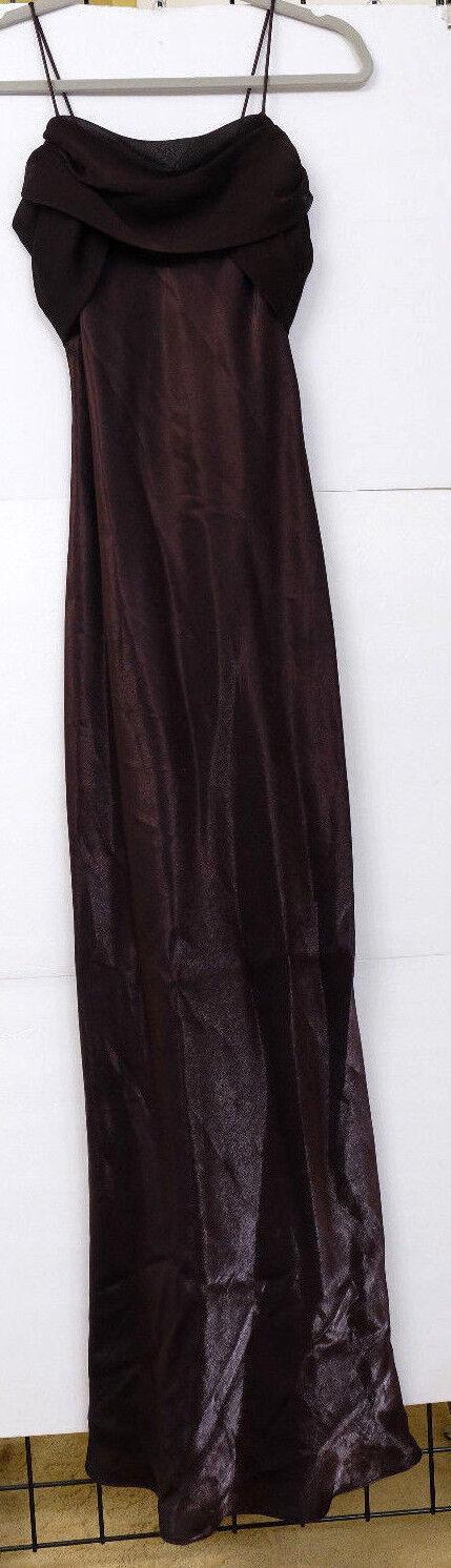 NWT Betsy & Adam Women's Size 6 Shimmery Brown Spaghetti Strap Long Dress MS
