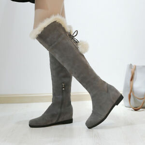 Details about Women Flat Over the Knee High Boots Bow Tie Pom Pom Ball Side  Zip Casual Shoes 72cd03b6fc
