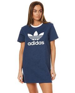 New-Adidas-Originals-Women-039-s-Womens-Tee-Dress-Crew-Neck-Short-Sleeve-Cotton-Blue