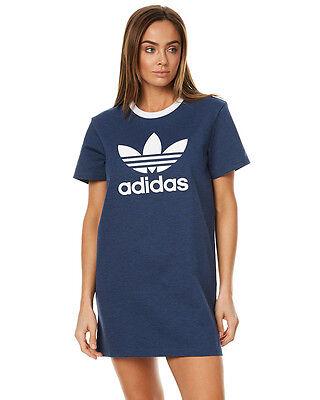 New Adidas Originals Women's Womens Tee Dress Crew Neck Short Sleeve Cotton Blue
