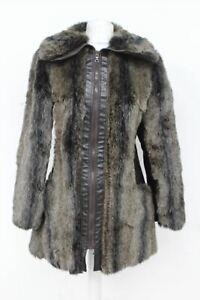 Berghaus femmes en cuir marron fourrure à col à fermetures à glissière manches longues manteau taille 44