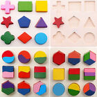 Baby Kids Montessori Early Educational Wooden Learning Toy Geometry Block Puzzle