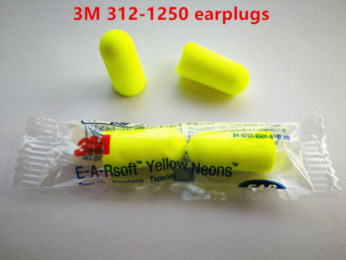 3M E-A-Rsoft 312-1250 Yellow Neon Dispose Earplug 33dB SleepAid Various Quantity