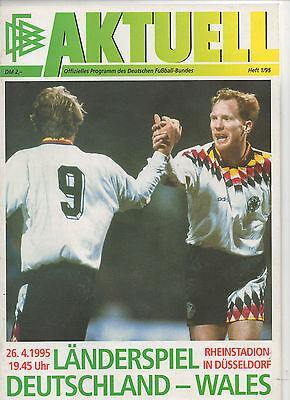 Beliebte Marke Orig.prg Em Qualifikation 26.04.1995 Deutschland - Wales !! Selten