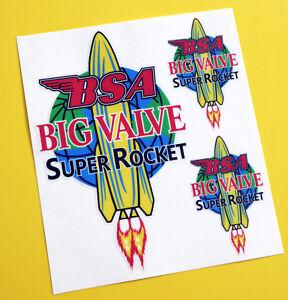'BSA BIG VALVE SUPER ROCKET' style set stickers decals tank & helmet cafe racer