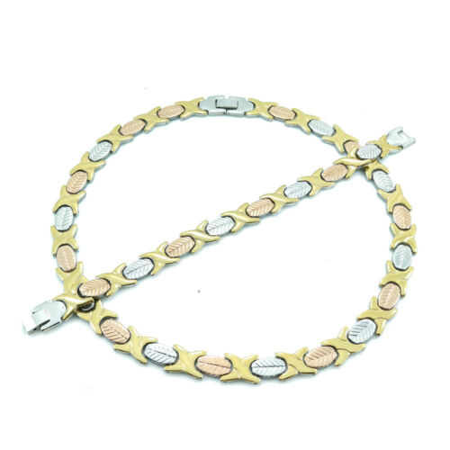 """NEW Hugs and Kisses Necklace Bracelet Set Stampato Stainless Steel 3 Tone 18/"""""""