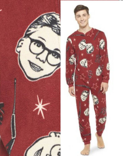 Adult Mens A CHRISTMAS STORY Fleece Pajamas Union Suit S-XL One Piece FootLESS