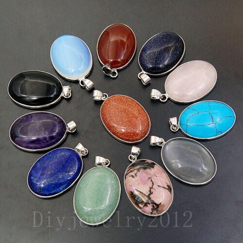 23x30mm Natural Gemstones Healing Reiki Round Pendants Beads