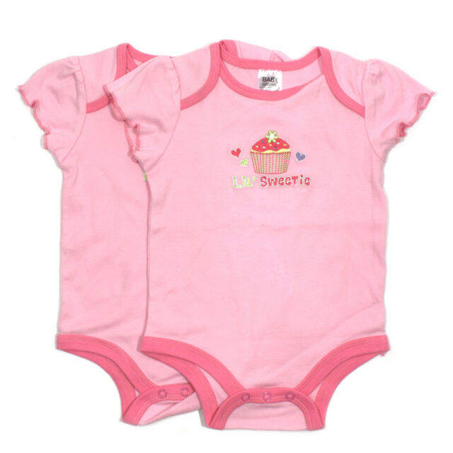 Pink Baby Girls Bodysuits By Baby Essentials US -- 3 - 6 Months 100% Cotton