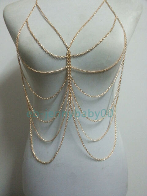 New Design Fashion Women Sexy Long Layer Full Body Necklace Gold Chain Harness