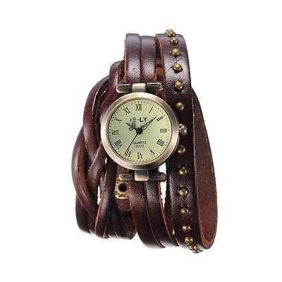 Vintage Dial Analog Black Leather Bracelet Band Quartz Womens Ladies Wrist Watch