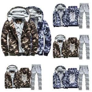 2pcs мужской полный комплект с капюшоном на молнии пальто + брюки спортивный костюм свитер бег трусцой тренажерный зал теплый