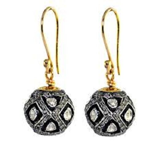 Victorian 1.50 Ct Rose Cut Diamond Polki 925 Sterling Silver Long Earring 1.3