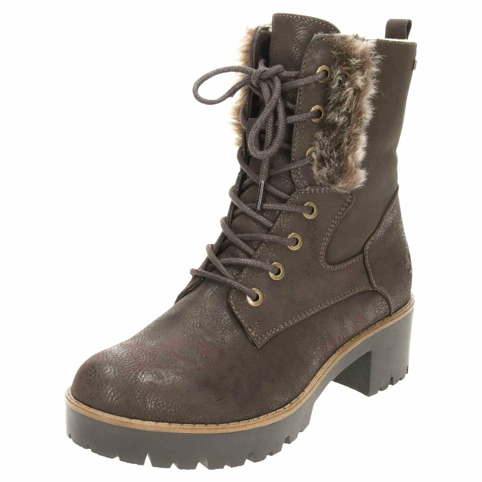 Rieker Tex Lace Up Zip Chunky Ankle Stiefel 96414-25 Warm Shower-Proof braun Cosy