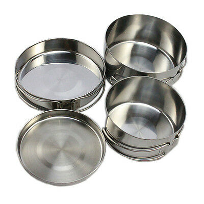 New 4pcs Set Stainless Steel Camping Picnic Backpacking Cookware Pot Pan Bowl