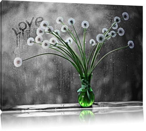 Pusteblumen in Vase schwarz//weiß Leinwandbild Wanddeko Kunstdruck