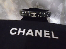 Exquisite Chanel 2010 Black Resin pearls cuff Bracelet Bangle Authentic