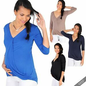 75cd94d98c065 Maternity Drape V Neck T Shirt Blouse Plunge Wrap Stretch Top ...