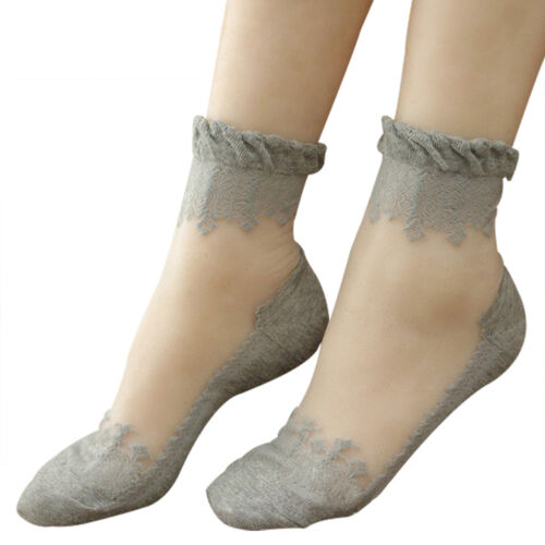 1Pair Womens Lady Thin Lace Socks Ice Silk Pattern Transparent Crystal Stockings
