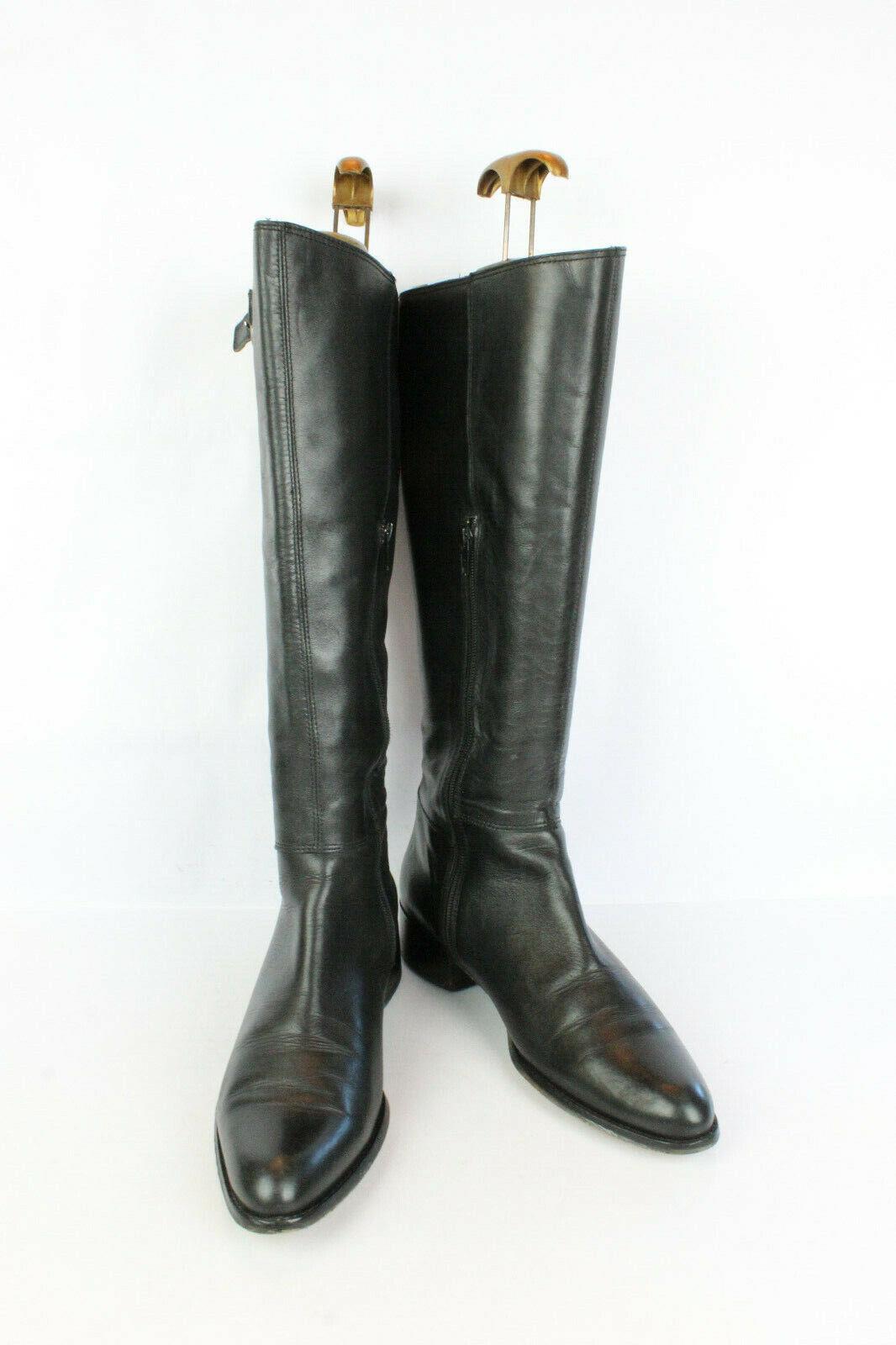 Stiefel Frauen Geheimnis Schwarzes Leder T 40   UK 6.5 Sehr Guter Zustand