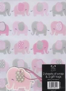 Baby Girl Gift Wrap Wrapping Paper 2 Sheets Gift Tags Newborn Baby