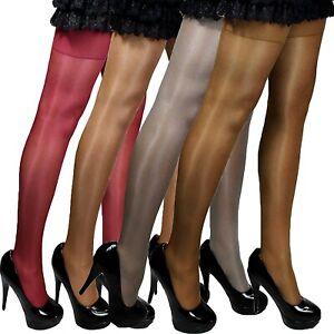 4 Paar Glanz-Satin-Straps-Strümpfe transparent glänzend Farben Strapse S-XL