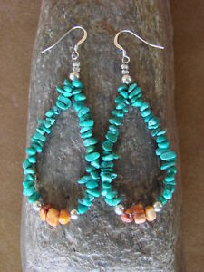 Navajo-Indian-Jewelry-Hand-Strung-Turquoise-Stone-Earrings