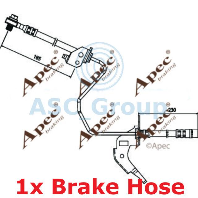APEC BRAKING 185mm Scheibe Bremssattel flexibel GUMMISCHLAUCH hos3688