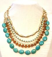 Turquoise Howlite & Cut Topaz Crystal Ivory Gold Beads Cable Chain Necklace Set