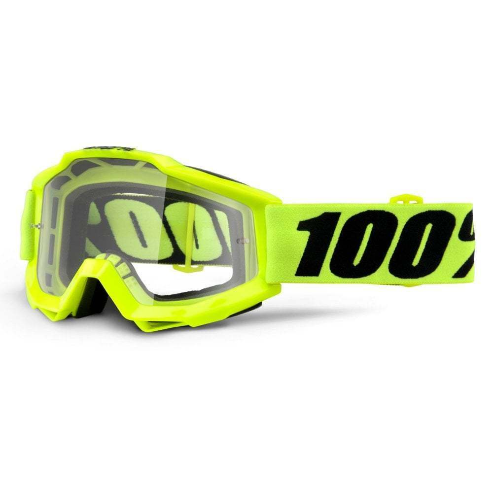 100% Accuri OTG  Over The Glasses  MX Goggles - Fluro Yellow With Clear Lens