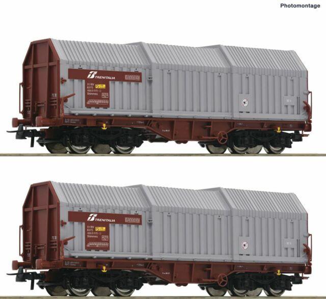 76047 Roco Ho Set 2 Wagons Opening Telescopic Shimmns With Small Terrace Logo FS