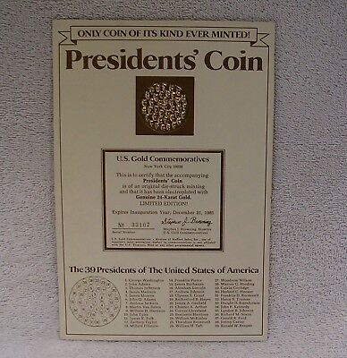 Medal President/'s Coin on One 24kt Gold Plated Commemorative 38 U.S Pres