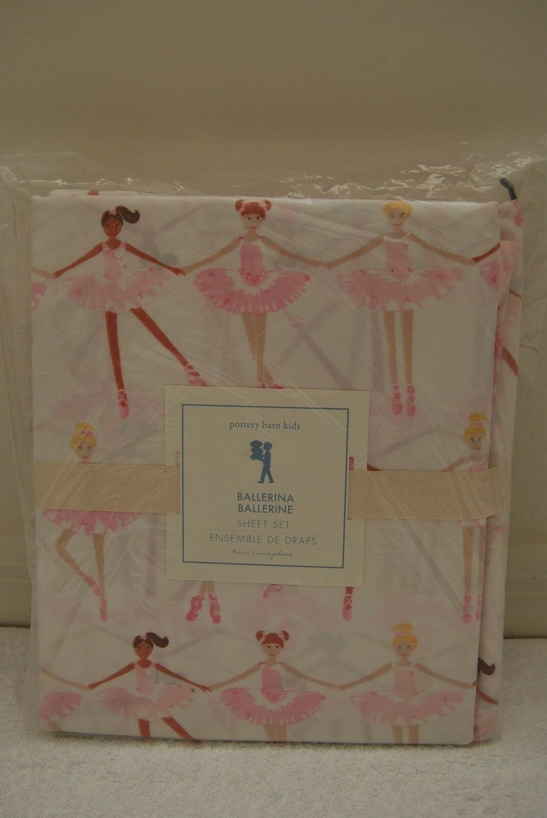 Nouveau POTTERY BARN Kids Rose ballerina TWIN Sheet Set 100% Coton Danseur de ballet