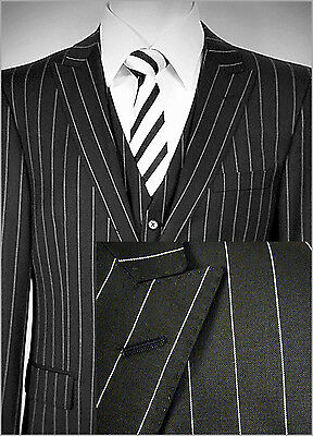 TIGLIO LUXE ITALIAN 3 PCS VESTED SUIT~42R~150's~BLACK/WHITE STRIPE~RETAIL $699