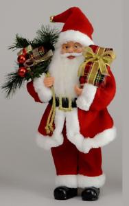 40cm Standing Traditional Santa Figure Christmas Decoration Figurine