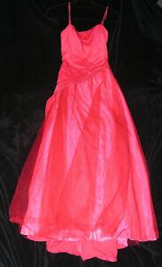 Women-039-s-Dress-Jrs-Sz-11-Long-Princess-Ball-Gown-Prom-Glitter-Spaghetti-Strap-Red