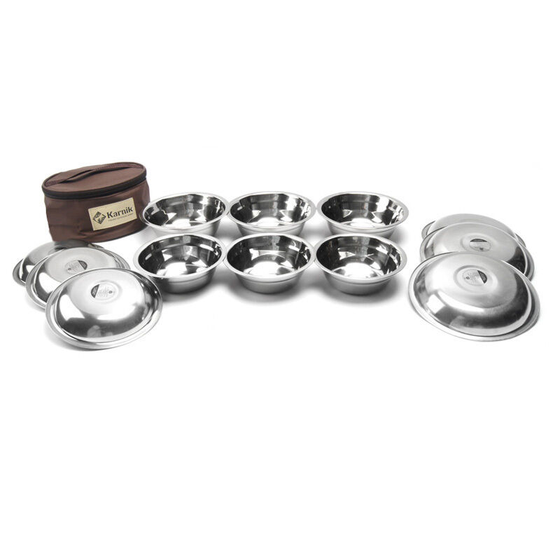 Bowl Set Stainless Steel Camping Outdoor Cookware 12PCS Set