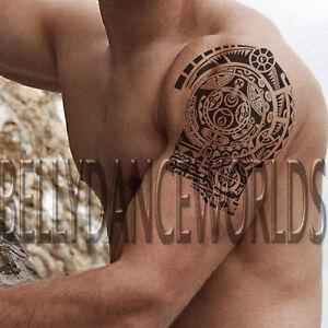 Polynesian Hawaiian Upper Arm Shoulder Tribal Temporary Tattoo Body