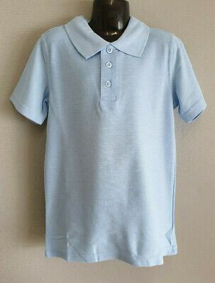 BNWT Boys or Girls Sz 8 Campus Uniform Brand Sky Blue Long Sleeve Polo Top