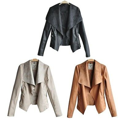 Women Ladies PU Leather Casual Jacket Coat Blazer Slim Outerwear Fashion Blouse