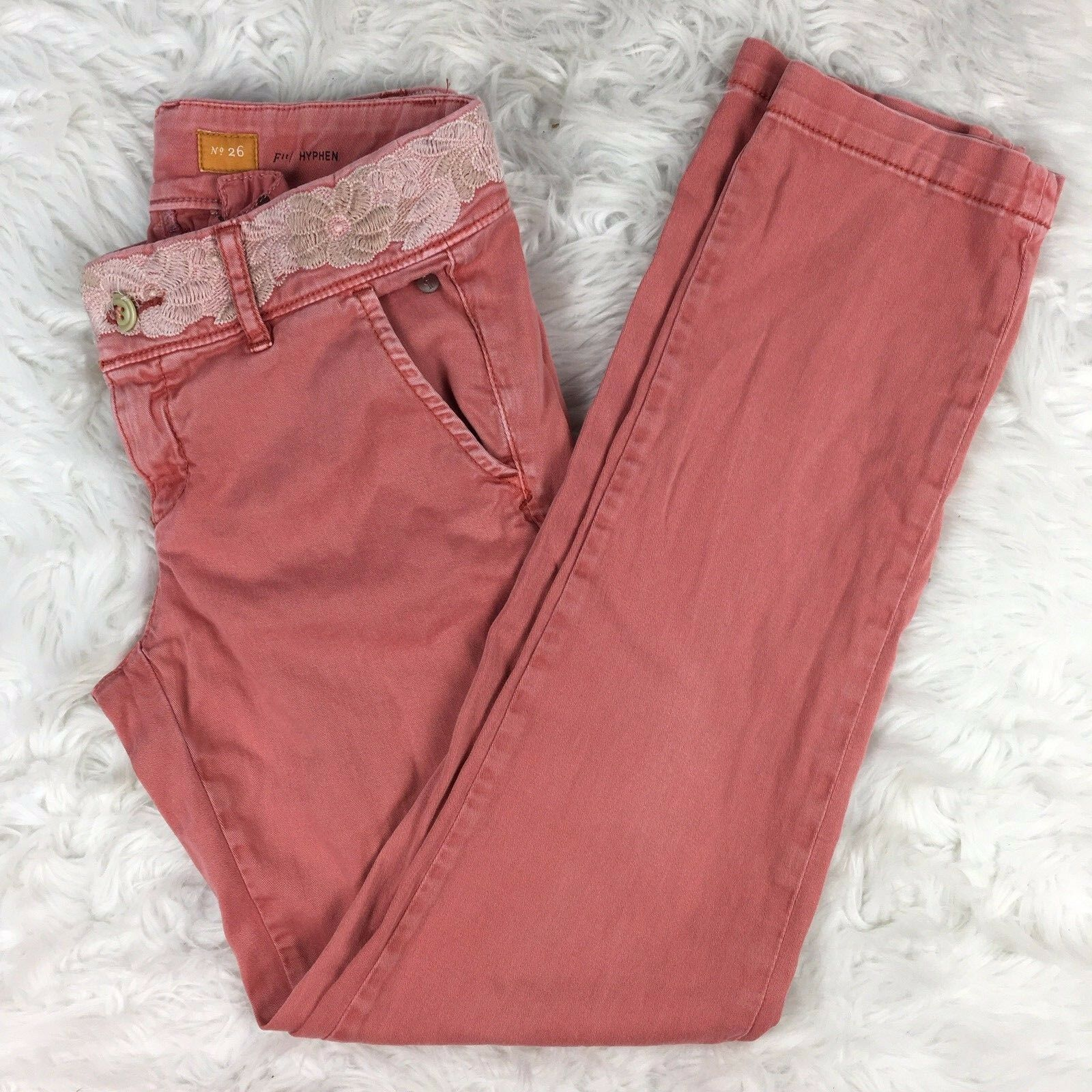 Pilcro & the Letterpress Fit Hyphen Salmon Pants Red Coral Moto Pants Size 29