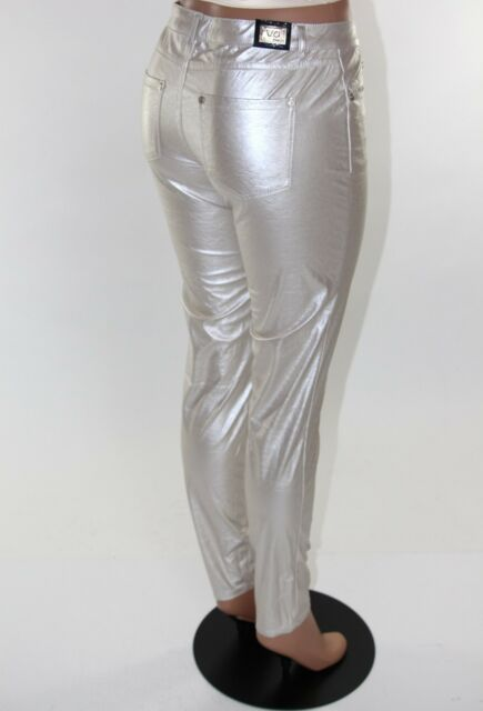 VIRGIN ONLY Skinny Leather Jeans VO Women rockstar SILVER or Ivory Metallic THIN