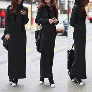 Women-039-s-V-Neck-Casual-Dress-Long-Sleeve-Hoodie-Hooded-Jumper-Sweater-Maxi-Dress