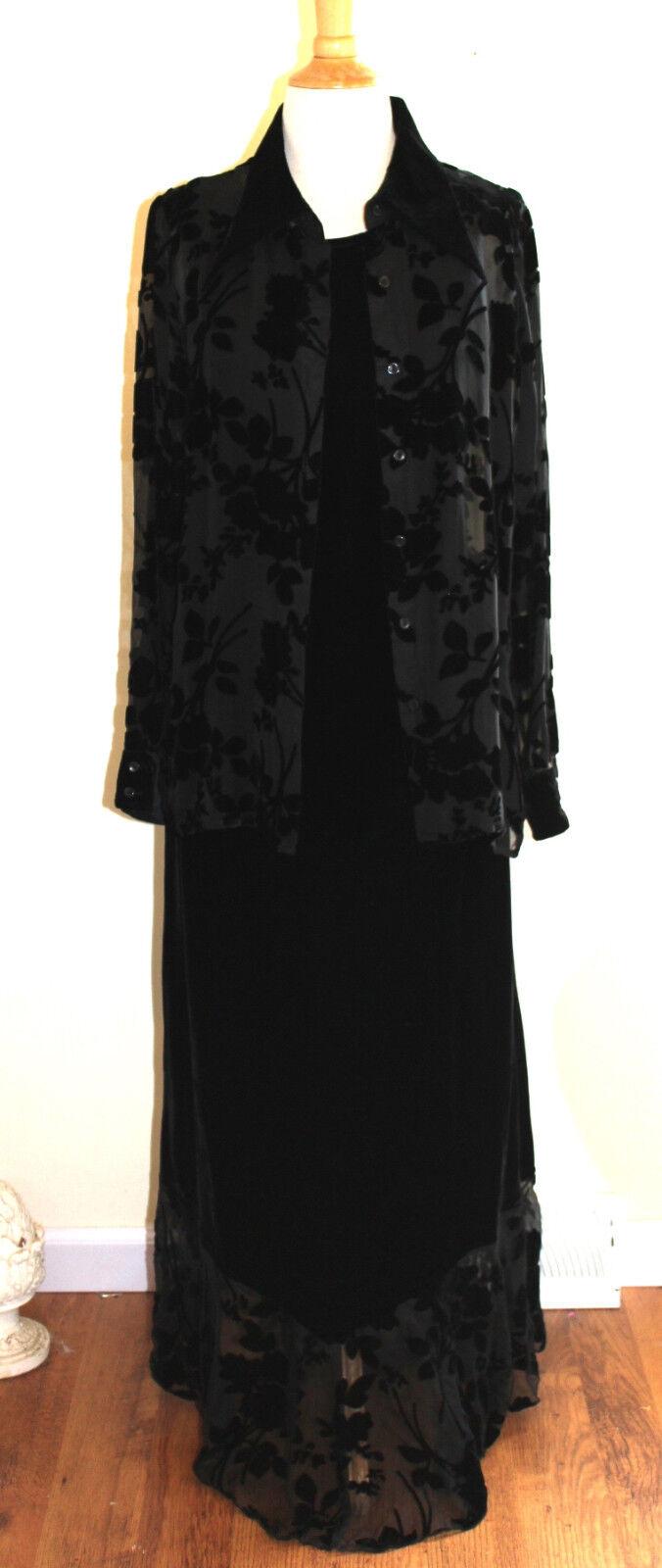 April Cornell Elegant schwarz Floral Burnout Art-to-Wear Jacket Top + Dress Sz M
