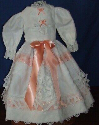 "Beautiful Antique Dress Fits 14-16/"" Lady Doll Peach Trim"