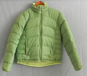 6aa96535d Details about LL Bean Down Jacket Reversible 2 Greens Full Zip Zip Pockets  Size S
